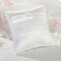 White Pleated Silk Wedding Ring Cushion